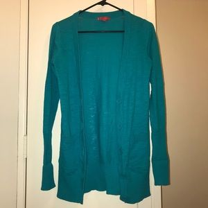 Sweaters - Long Turquoise Cardigan Sweater